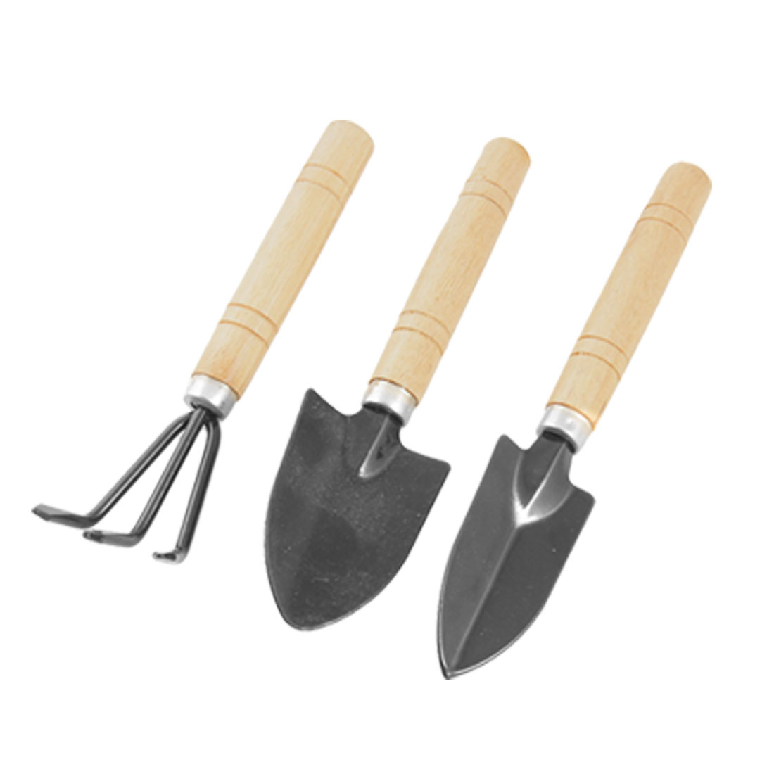 Home Wooden Handle Metal Rake Shovel Digging Trowel Garden Tools Set