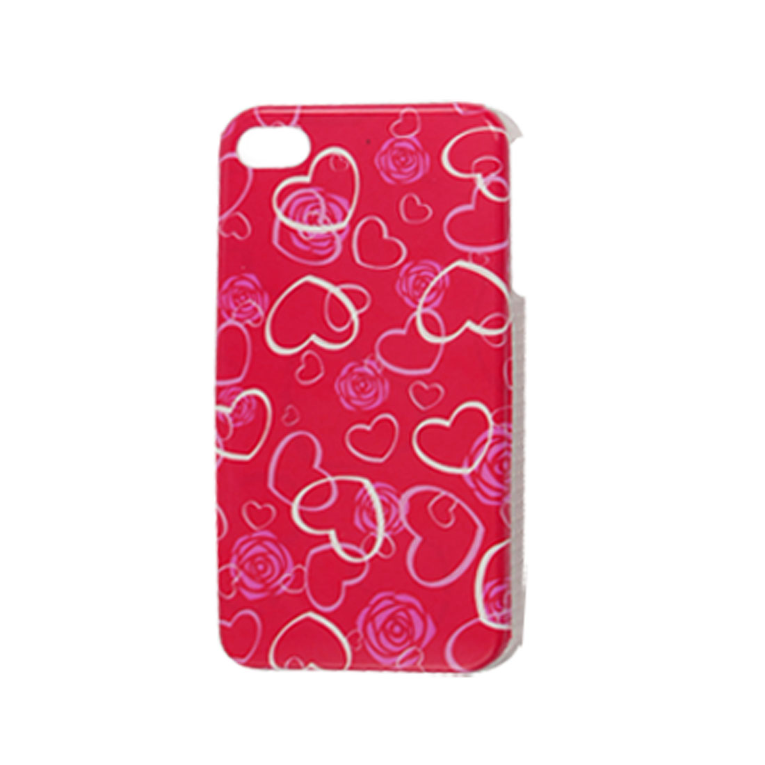 IMD Heart Print Red Hard Plastic Back Case Cover for iPhone 4 4G 4S