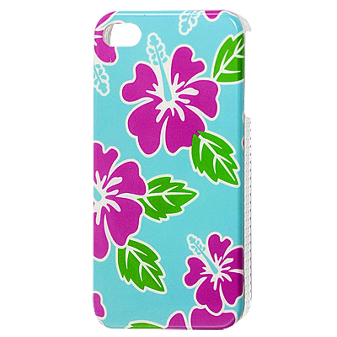 Fuchsia Flower Pattern Sky Blue Hard Plastic IMD Back Case for iPhone 4 4G 4S
