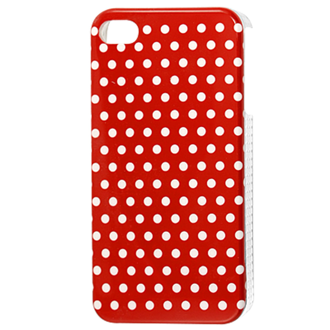 White Dots Red Hard Plastic IMD Back Case Cover for iPhone 4 4G 4S