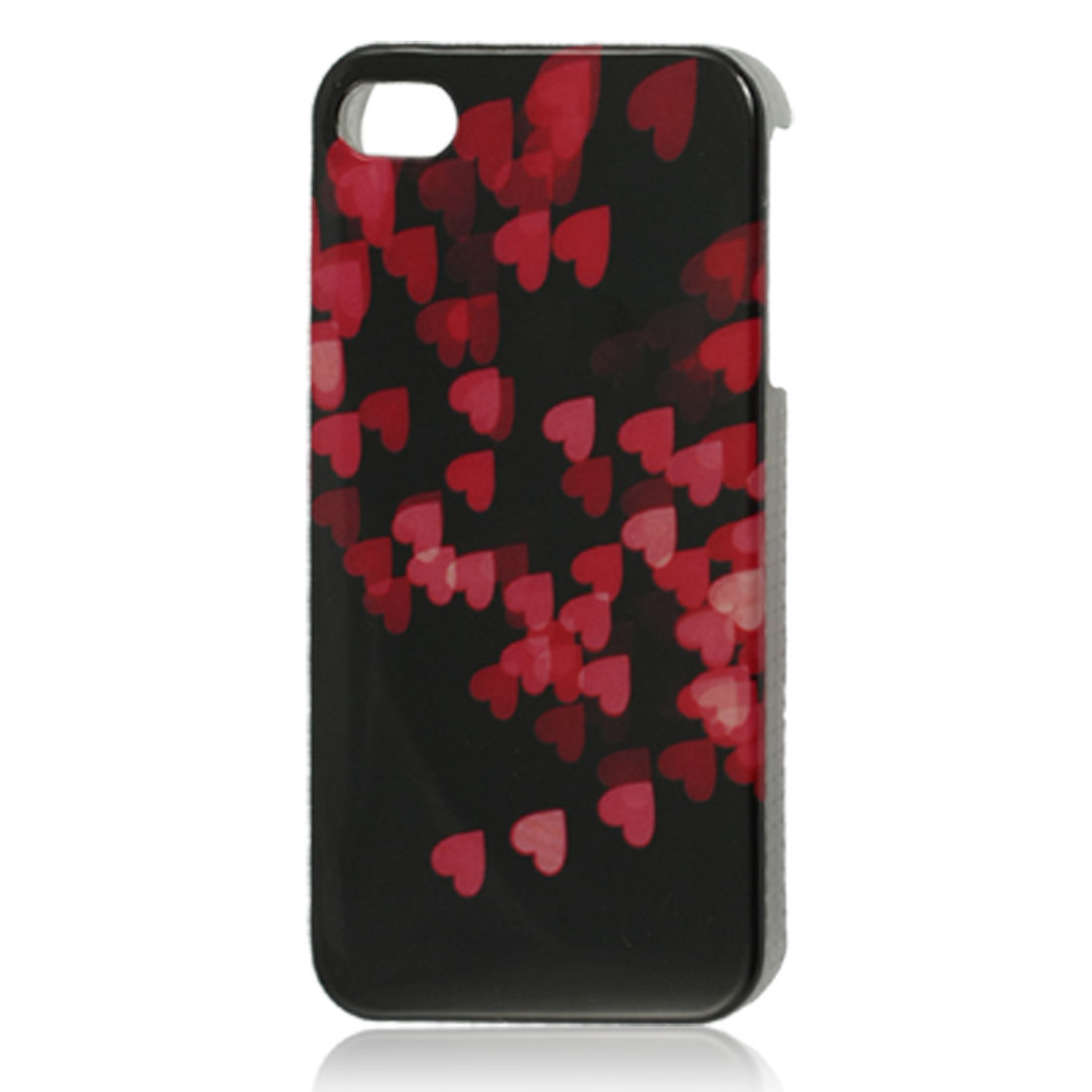 Red Hearts Pattern Black Hard Plastic IMD Back Case for iPhone 4 4G 4S
