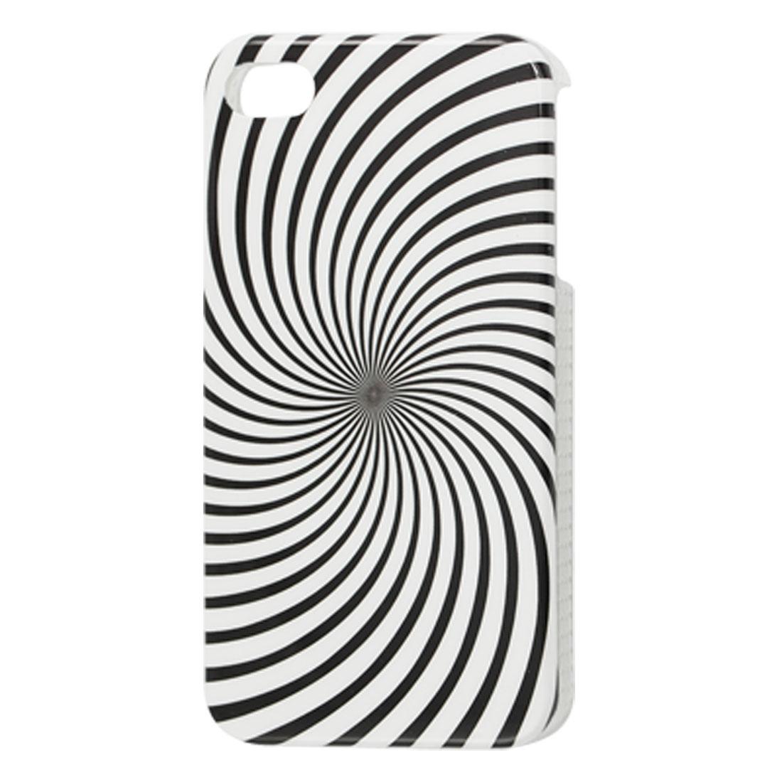 Black White IMD Spiral Print Plastic Back Cover for iPhone 4 4G 4S