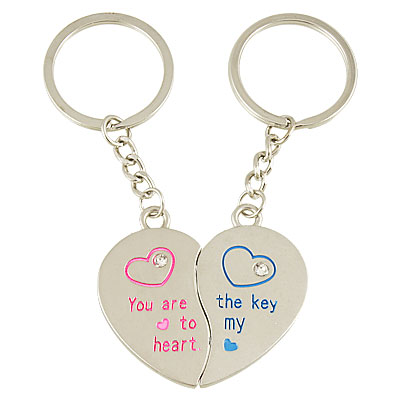 Valentine Day Letter Print Magnetic Heart Design Key Chain Pair for Lover
