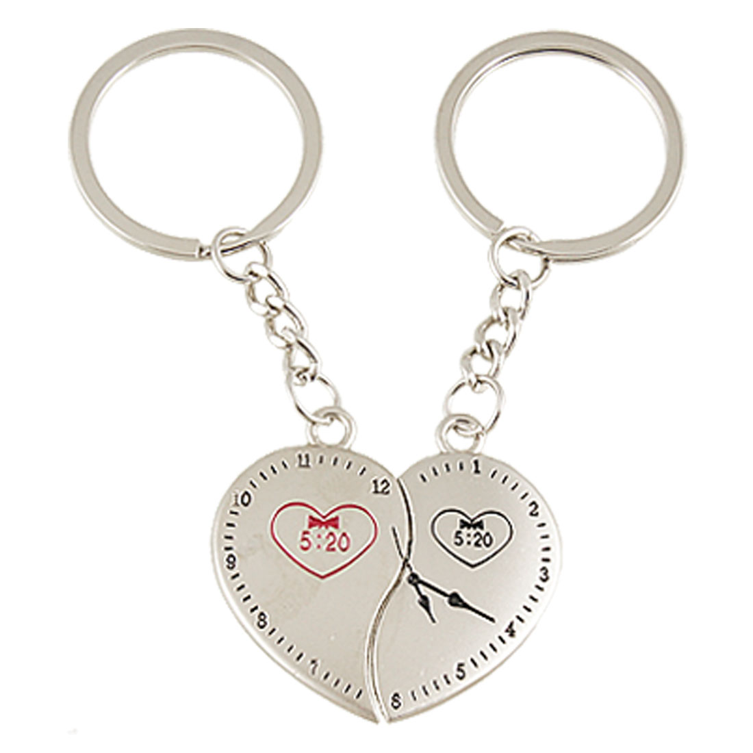 Lover Valentine Day Magnetic Heart Keyring Key Chains Silver Tone 2 Pcs