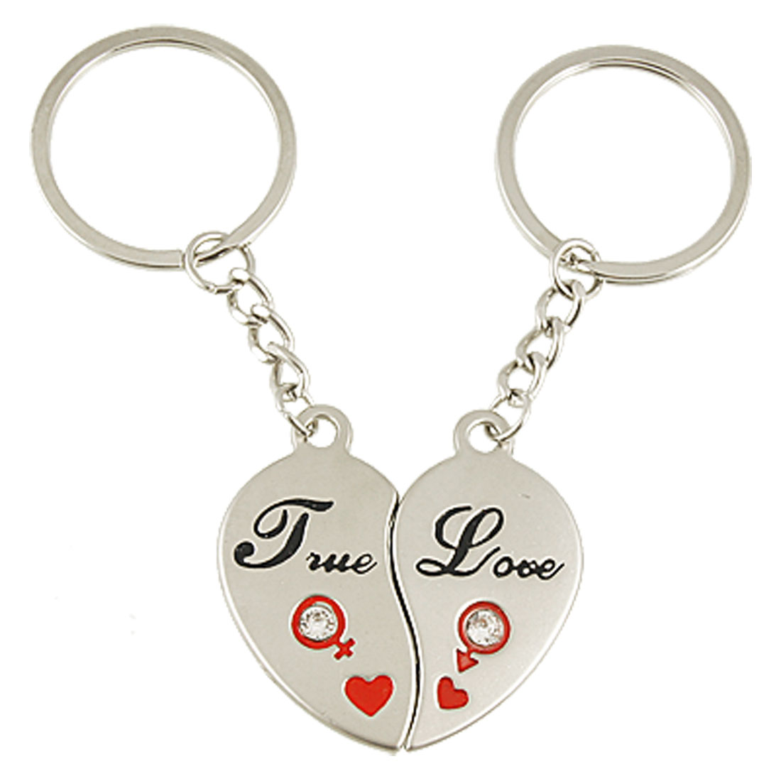 2 Pcs Magnetic Heart Pendant Metal Key Rings Chain for Lover Couple