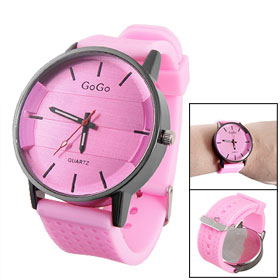 Men Lady Pink Soft Plastic Watch Band Round Dial Quartz Watch