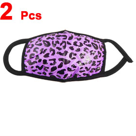 2 Pcs Purple Black Leopard Print Mouth Face Mask Protector Soft Cloth Earloop Respirator