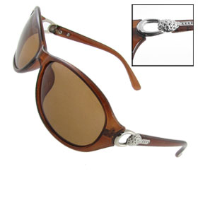 Lady Woman Silver Tone Metal Detail Brown Arms Full Rim Polarized Sunglasses