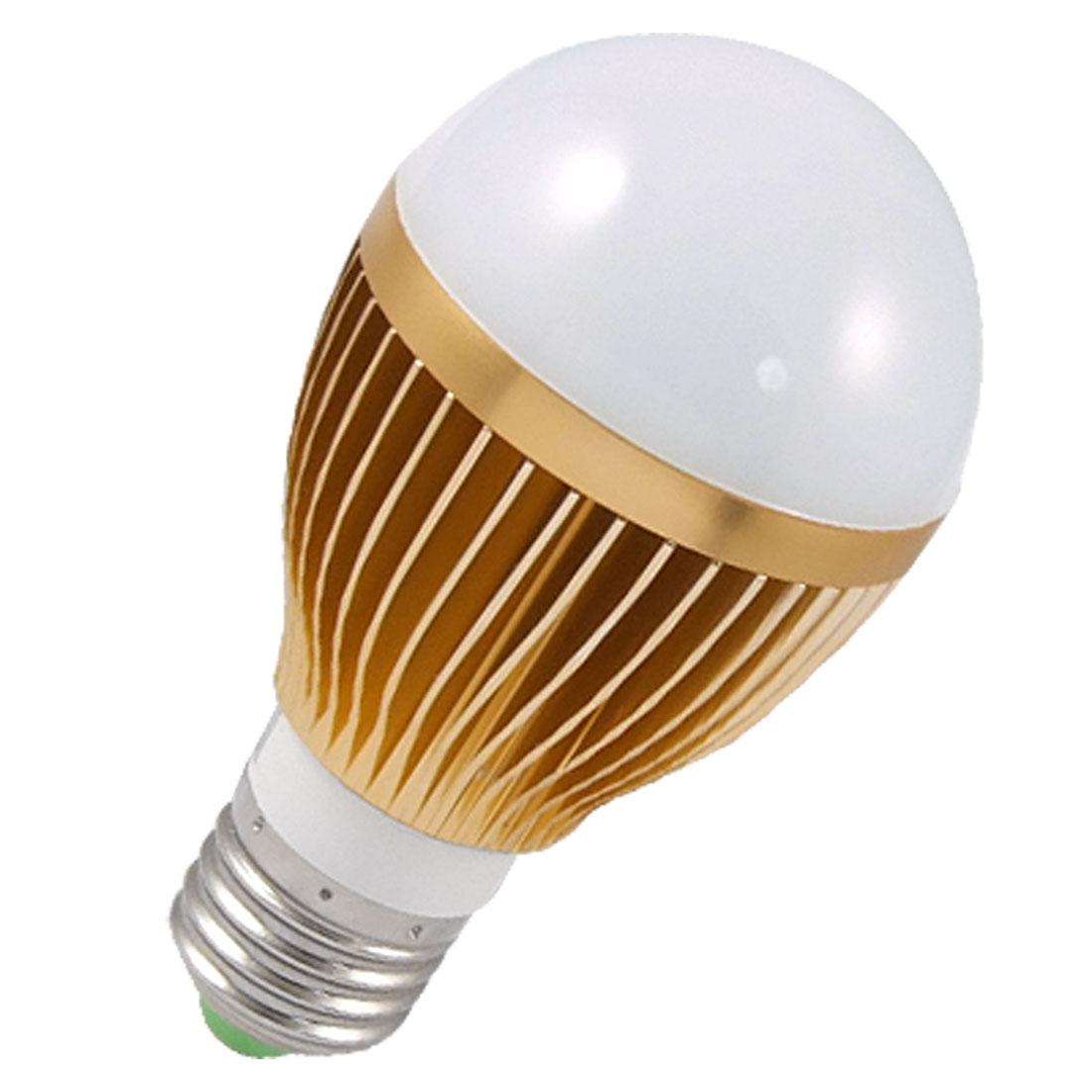 E27 Screw Base Gold Tone Shell White 5 LEDs Globe Bulb Light 5W AC 110-240V