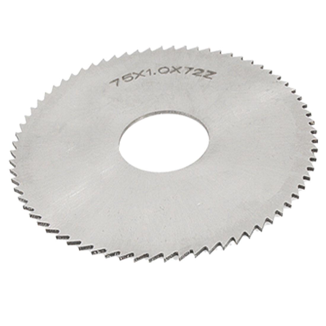 72T Silver Tone Milling Cutter 75 x 1 x 22mm Circular Slitting Saw