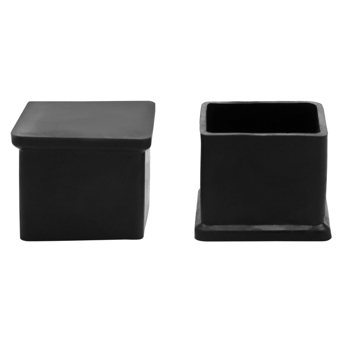 "2 Pcs Black Rubber Square 63/64"" x 63/64"" Chair Table Foot Cover"