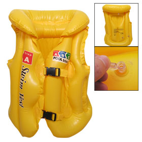 Release Buckle Closure Inflatable PVC Swimming Vest Yellow for Children