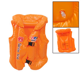 Children Release Buckle Closure Inflatable PVC Swimming Vest Orange