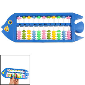 Fish Shaped Plastic Frame Calculating Tool Japanese Abacus Blue for Children