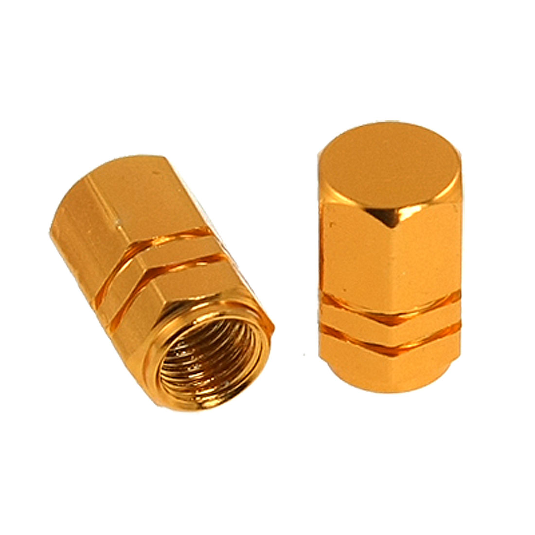 Gold Tone Hexagon Aluminum Alloy Tire Valve Caps 4 Pcs for Car Vehicle