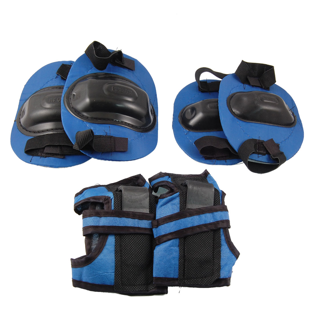Children Plastic Cover Skating Cycling Elbow Knee Wrist Support Pad Blue Black