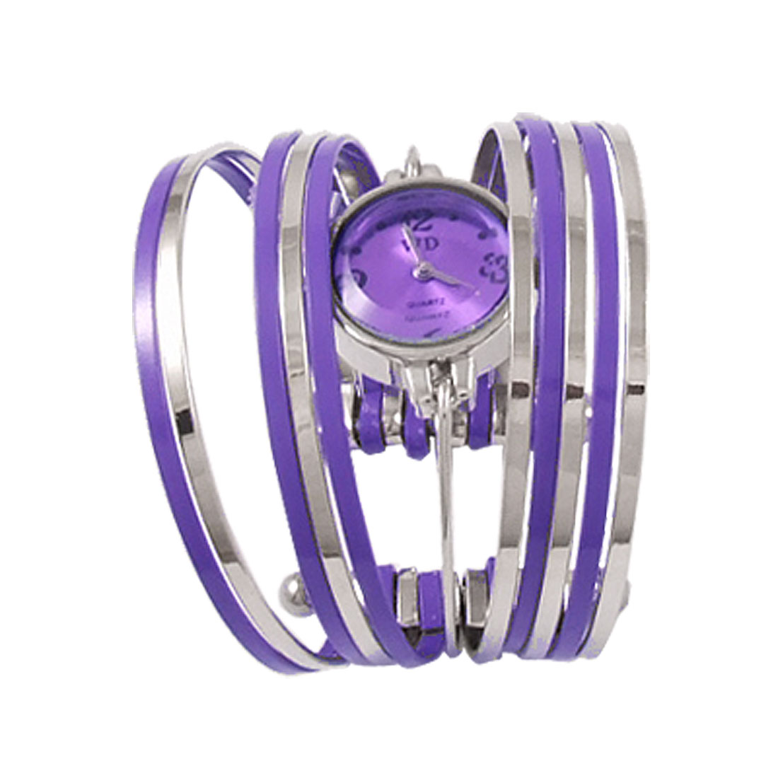 Women Purple Silver Tone Multi Layers Cuff Bracelet Quartz Waist Watch