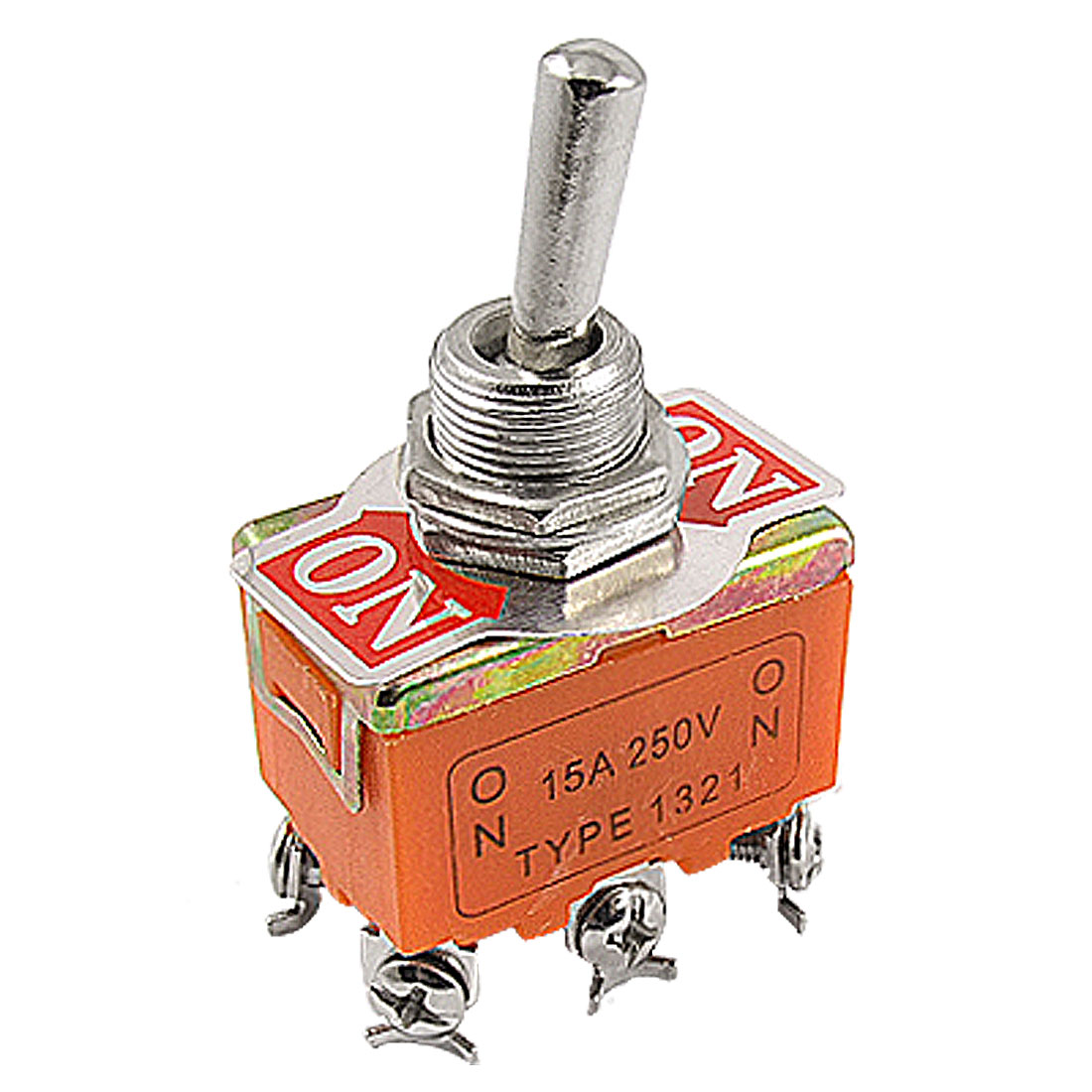 AC 15A 250V On/On 2 Position DPDT 6 Terminals Toggle Switch Orange