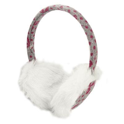 Winter Fuchsia Dots Printed Fluffy White Pads Ear Shield Grey Earmuff