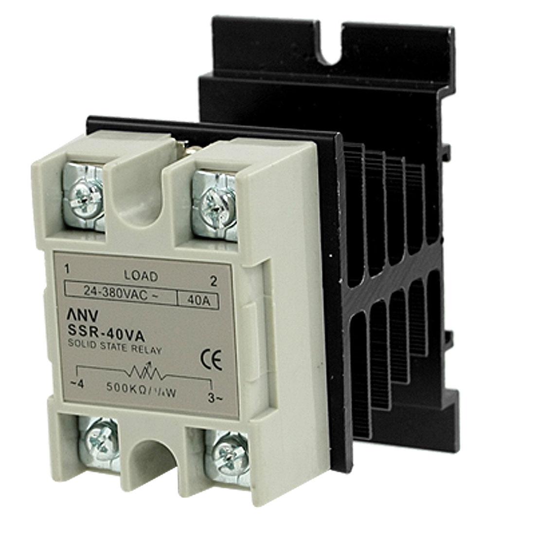 Solid State Relay Voltage Resistance Regulator 40A 24-380V AC w Heat Sink