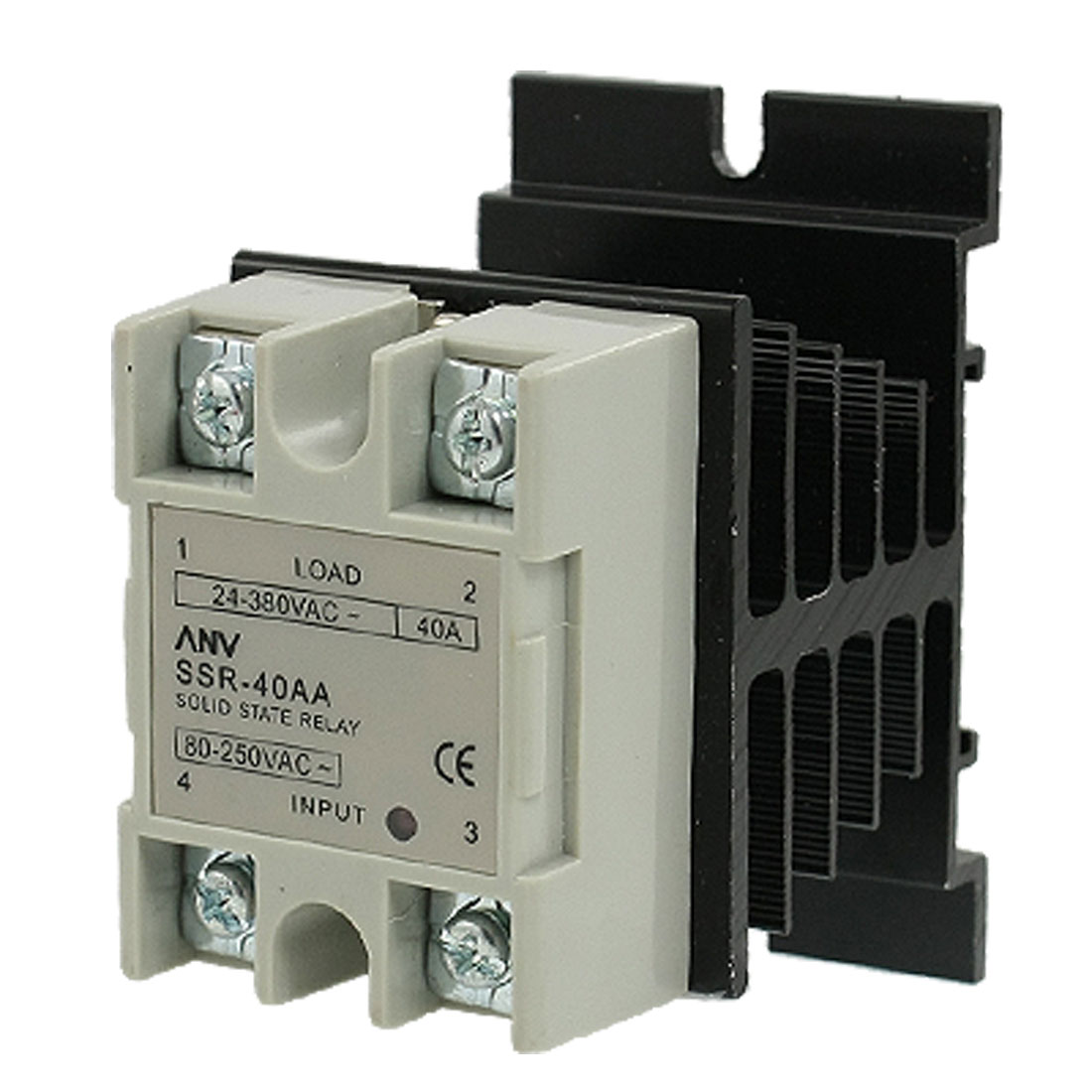 AC 80-250V AC 24-380V 40A AC to AC Single Phase SSR Solid State Relay w Heat Sink