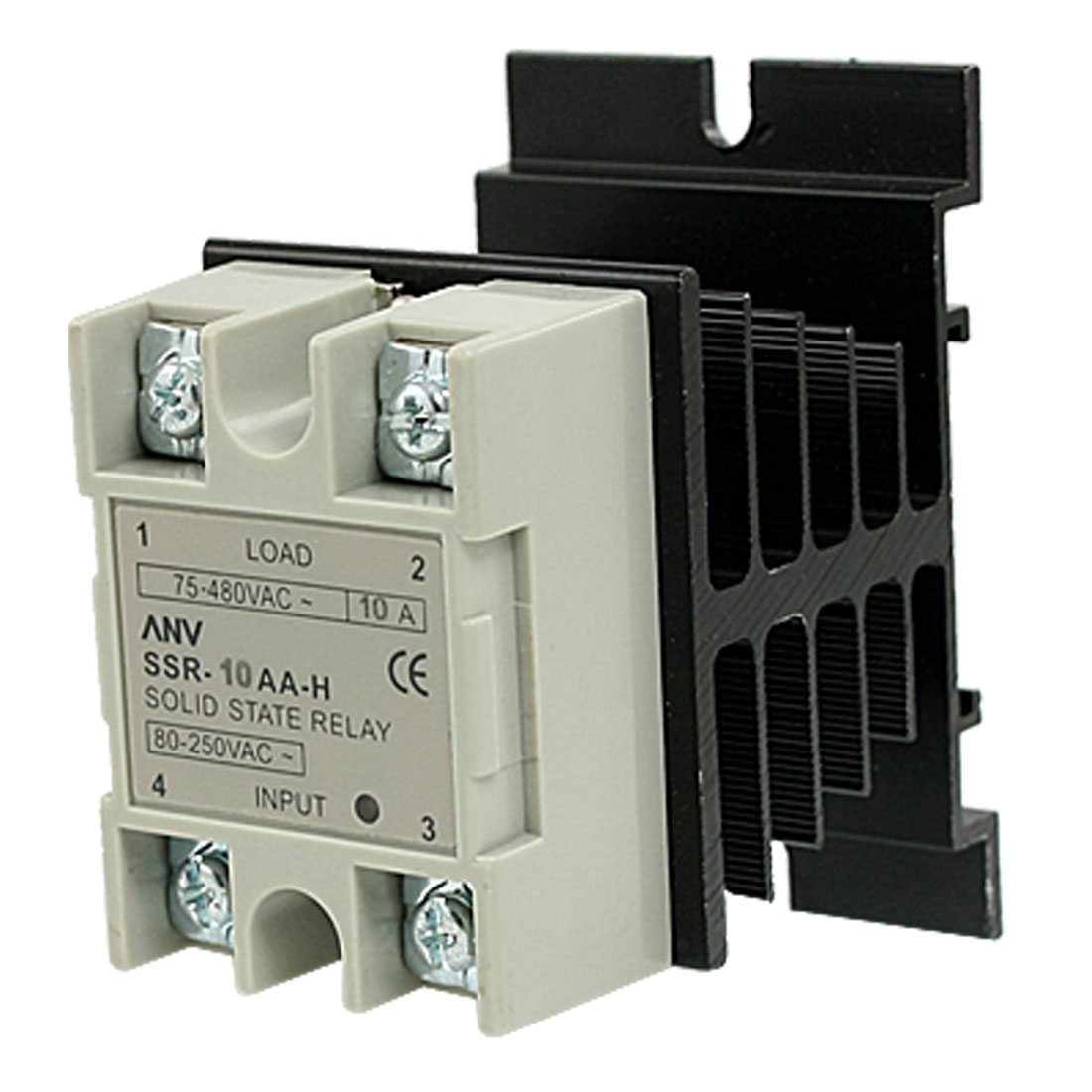 AC to AC Single Phase SSR Solid State Relay 10A 80-250VAC / 75-480VAC w Heat Sink