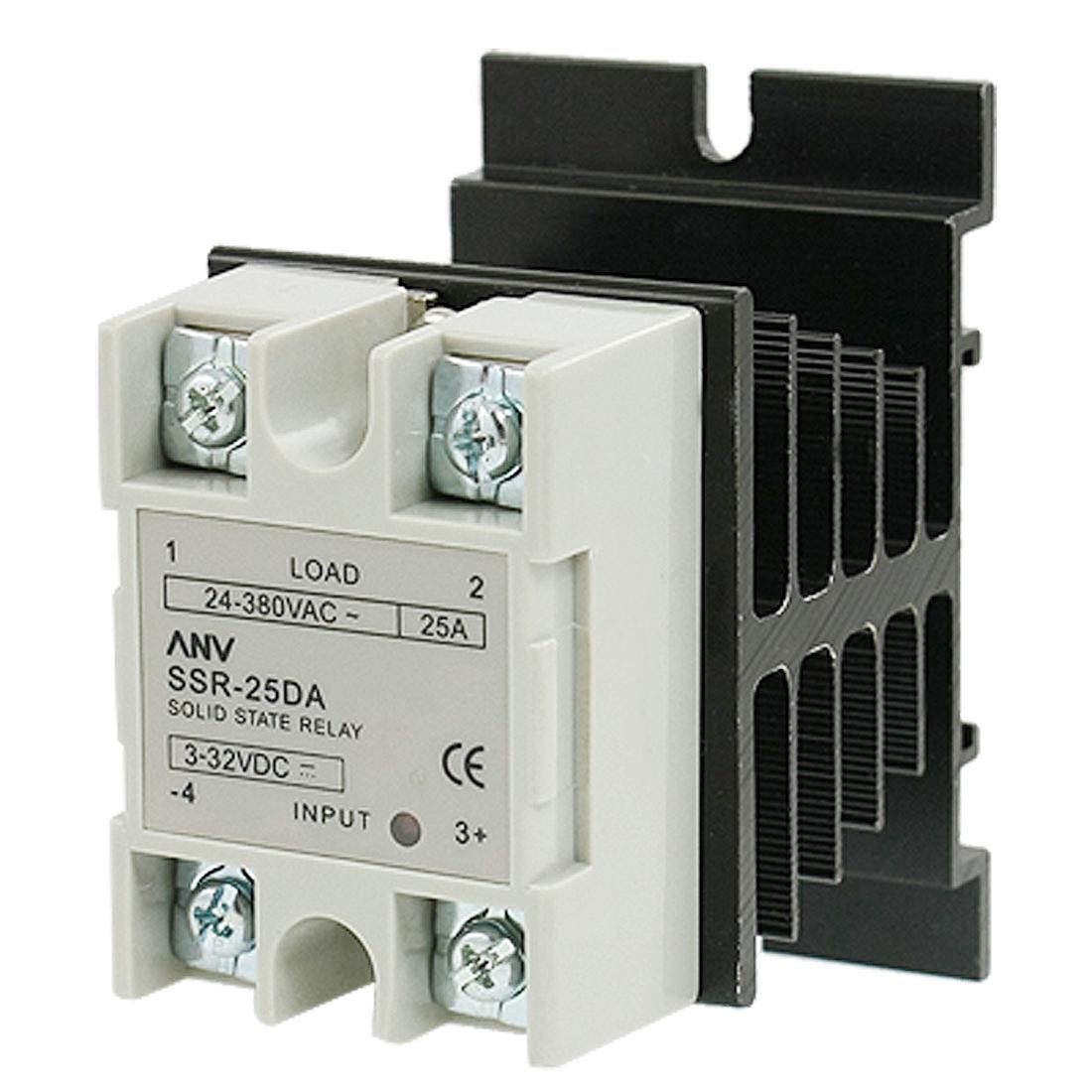 SSR-25 DA 25A 3-32V DC / 24-380V AC Solid State Relay + Heat Sink