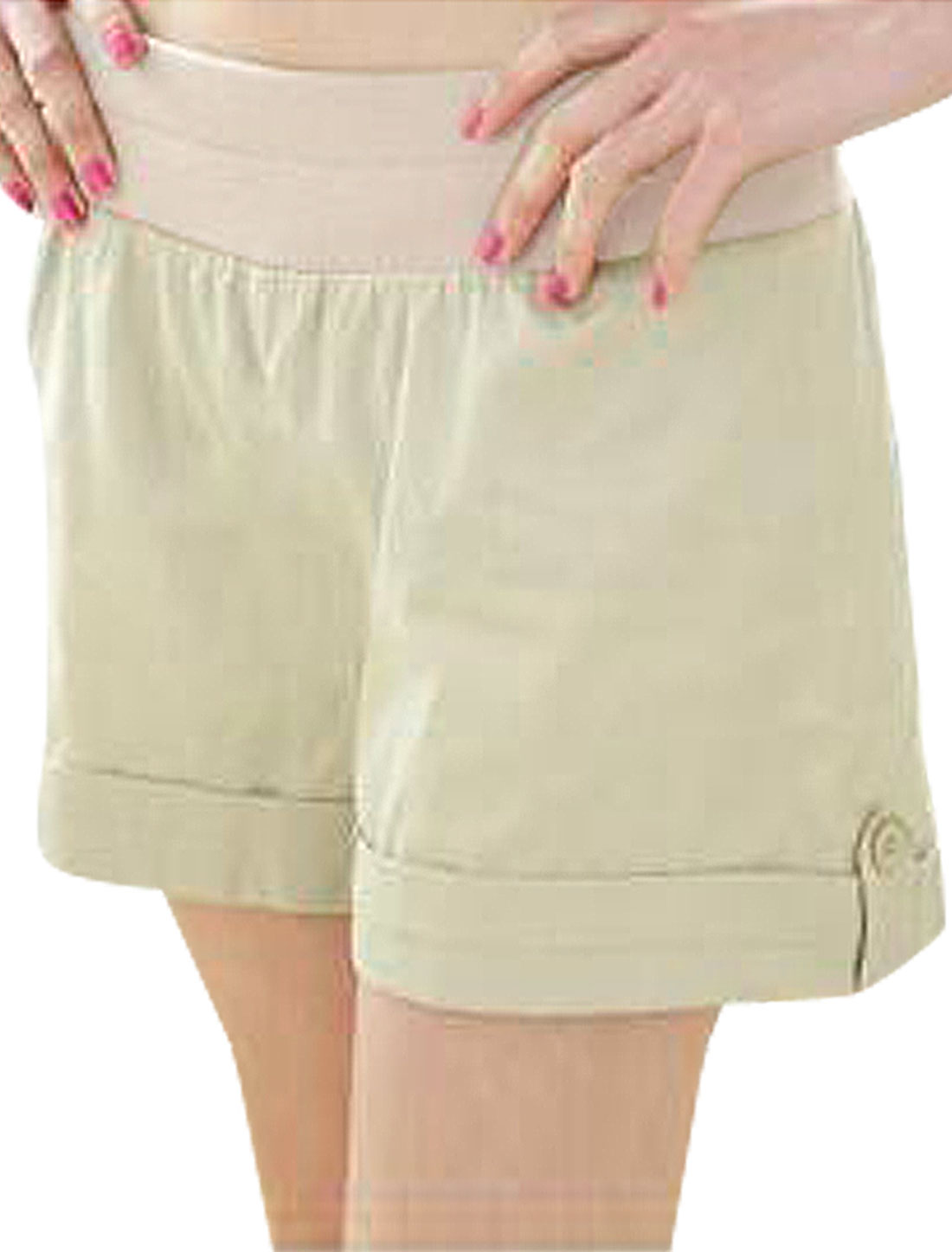 Women Beige Elastic Waist Fake Pocket Back Shorts Khaki Pants XS