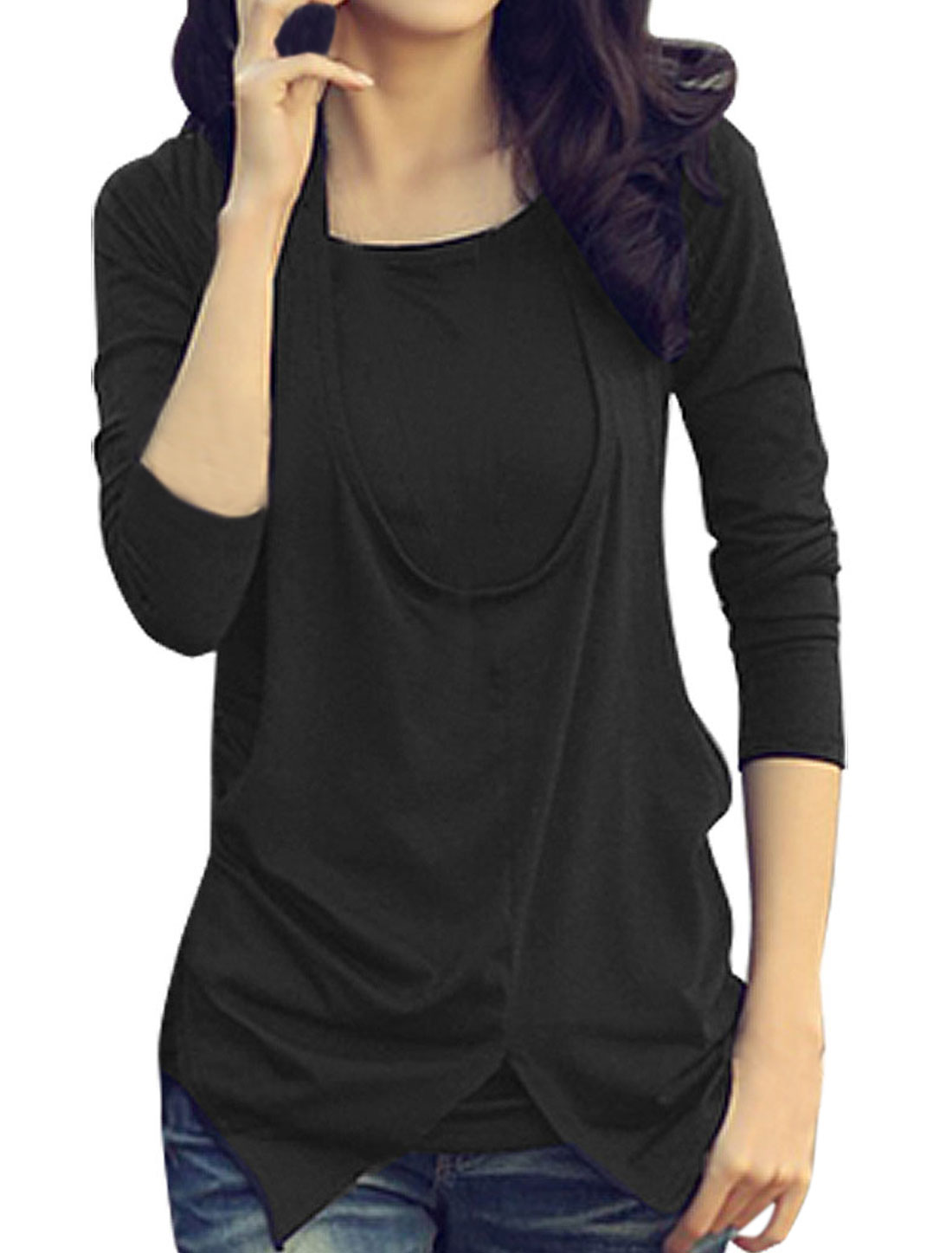 Size XS Layered Shirts Style Halter Front Round Neck Black Shirt for Women