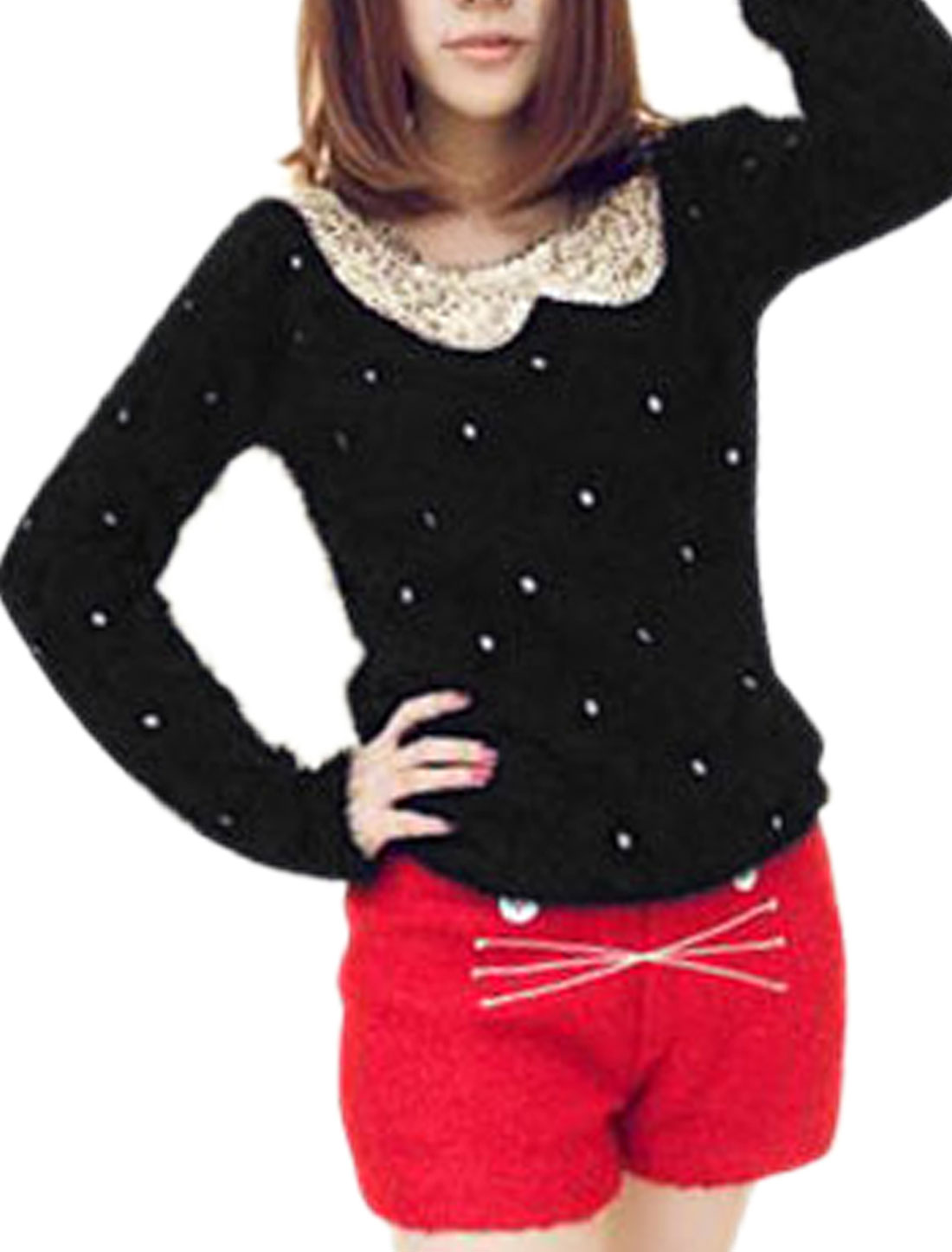 Size XS Sequined Fake Peter Pan Collar Decor Plush Sweater Black for Women