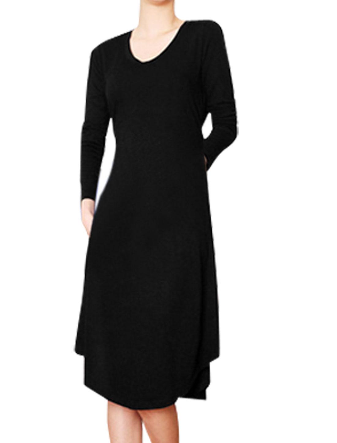 Woman Black Scoop Neck Long Sleeves Split Back Below Knee Dress S