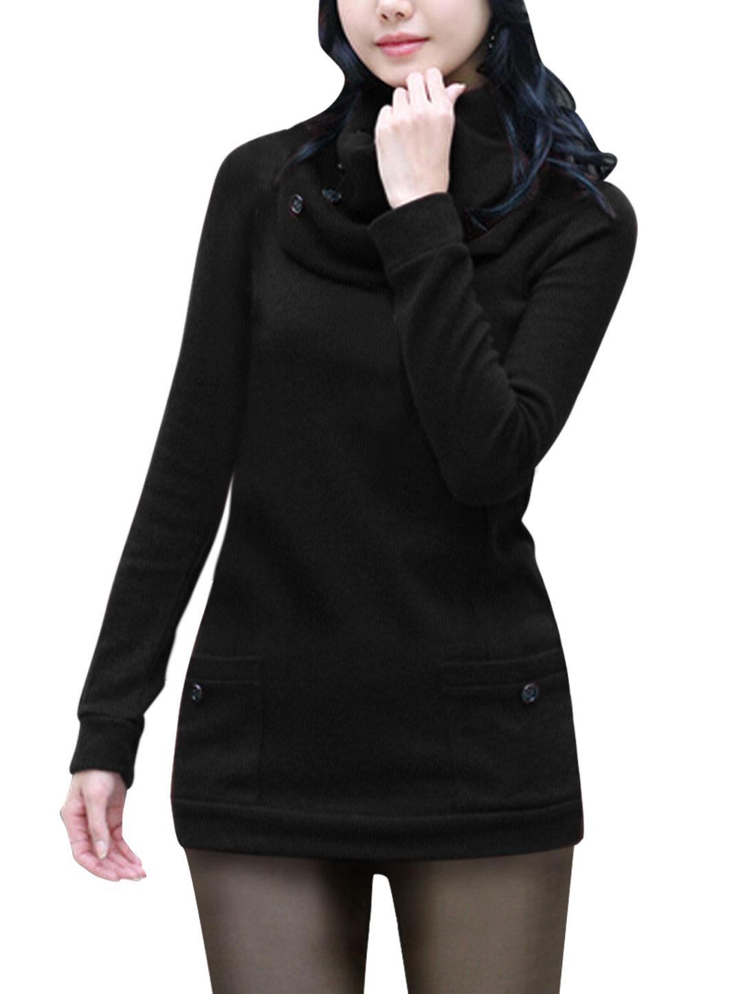 Woman Button Decor Neck Warmer Long Sleeve Round Neck Shirt Black XS