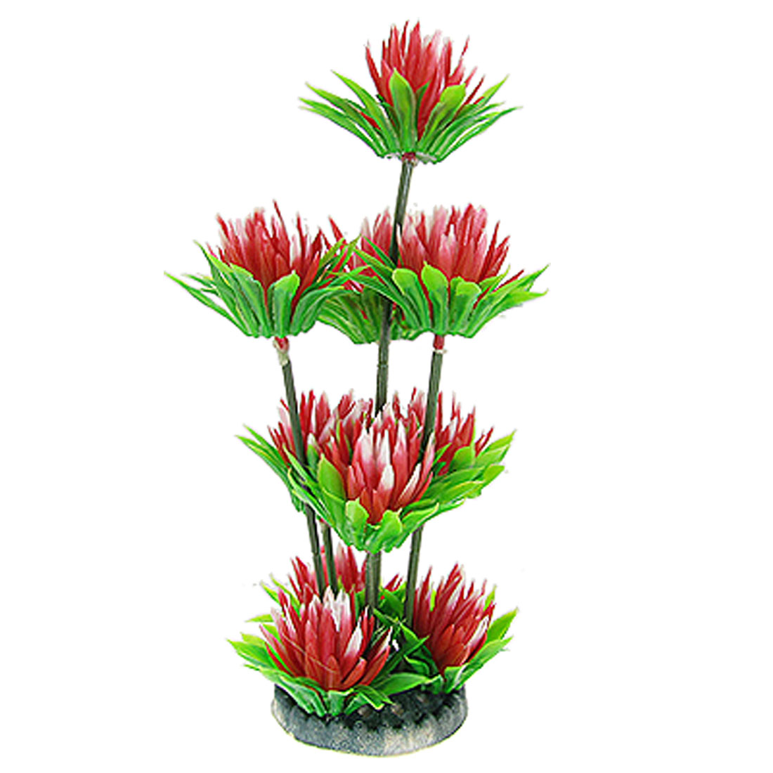 "9 3/5"" Plastic Chrysanthemum Floral Water Plant Ornament Red Green for Aquarium Tank"