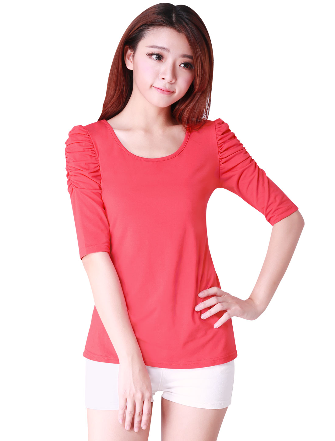 Watermelon Red Scoop Neck Ruched Half Sleeves Shirt for Woman XS