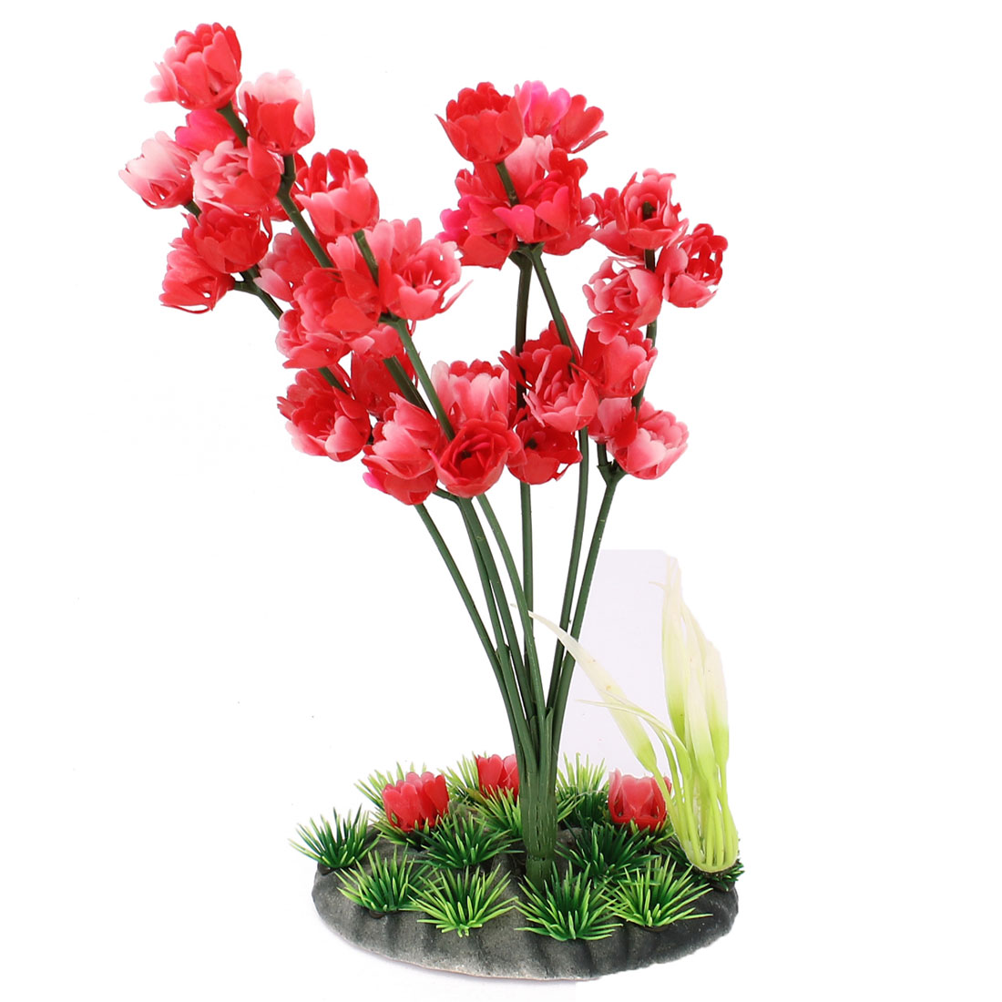 Fish Tank Lifelike Red Plastic Plum Blossom Water Plant Decoration 8 4/5""