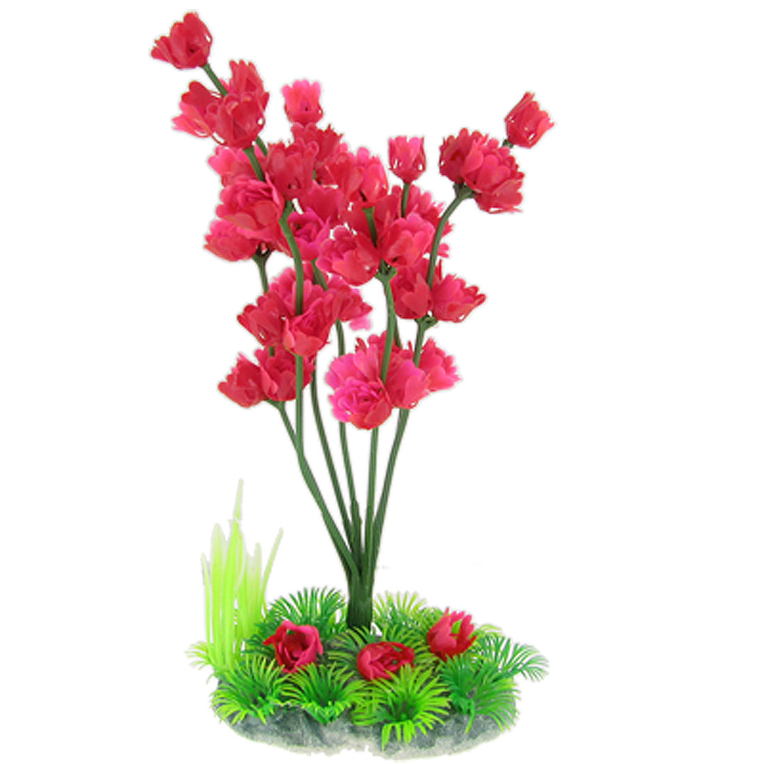 "Fish Tank Aquarium 8 4/5"" Emulational Plastic Plum Blossom Decoration Fuchsia Red"