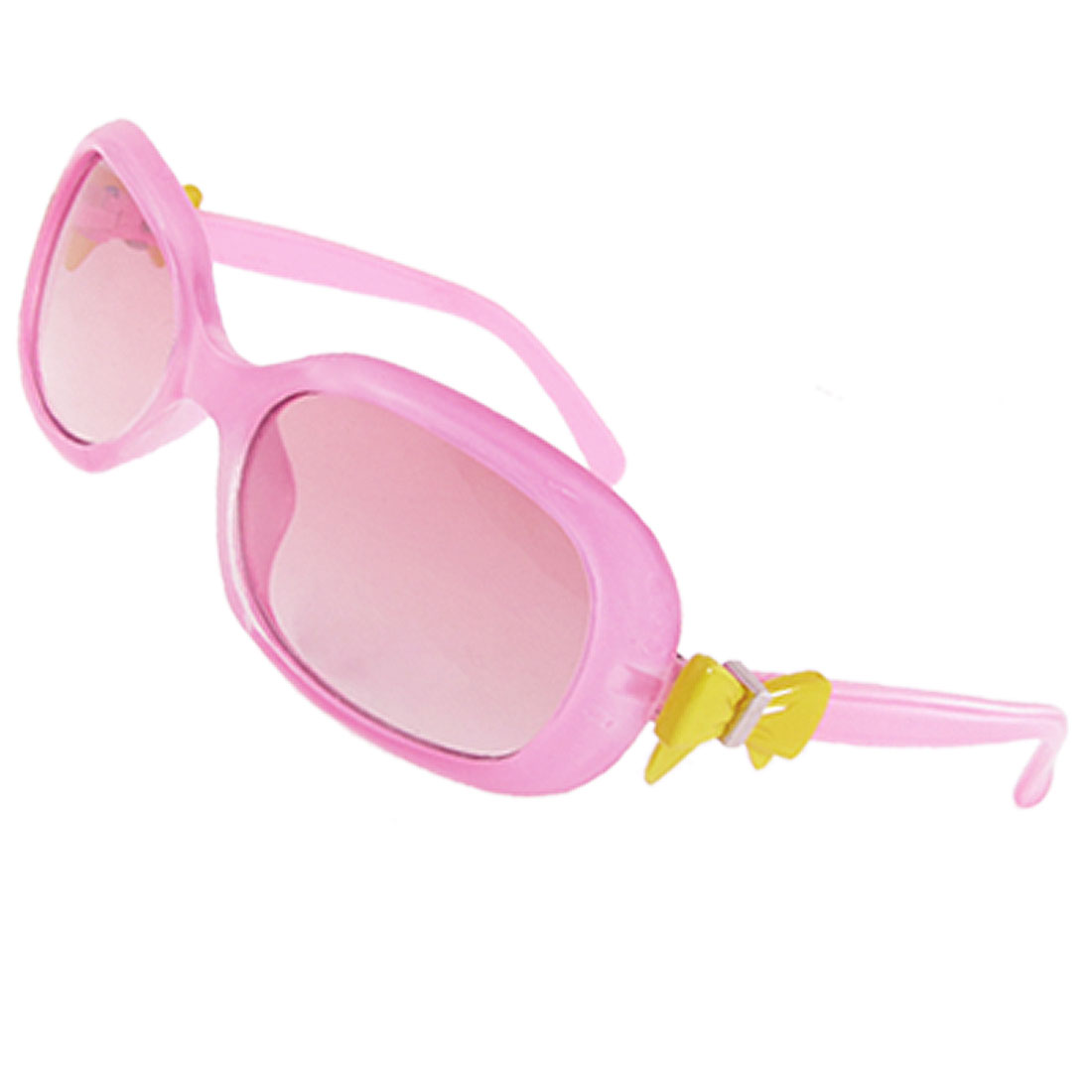 Children Yellow Bowknot Decor Pink Plastic Arms Full Frame Oval Lens Sunglasses