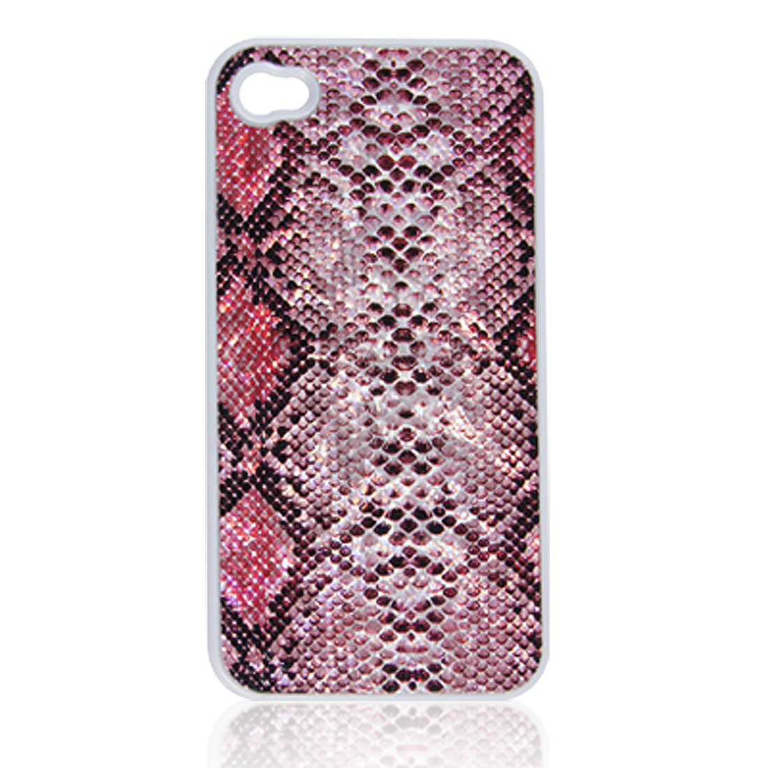Pink Black Faux Leather Coated Back Case Cover Shell for iPhone 4 4G 4S
