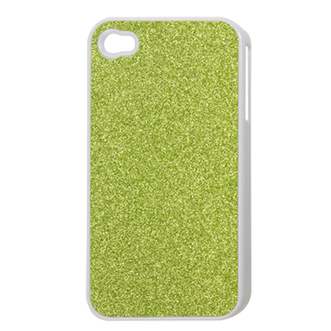 Green Powdered Faux Leather Coated Plastic Glitter Back Case for iPhone 4 4G 4S