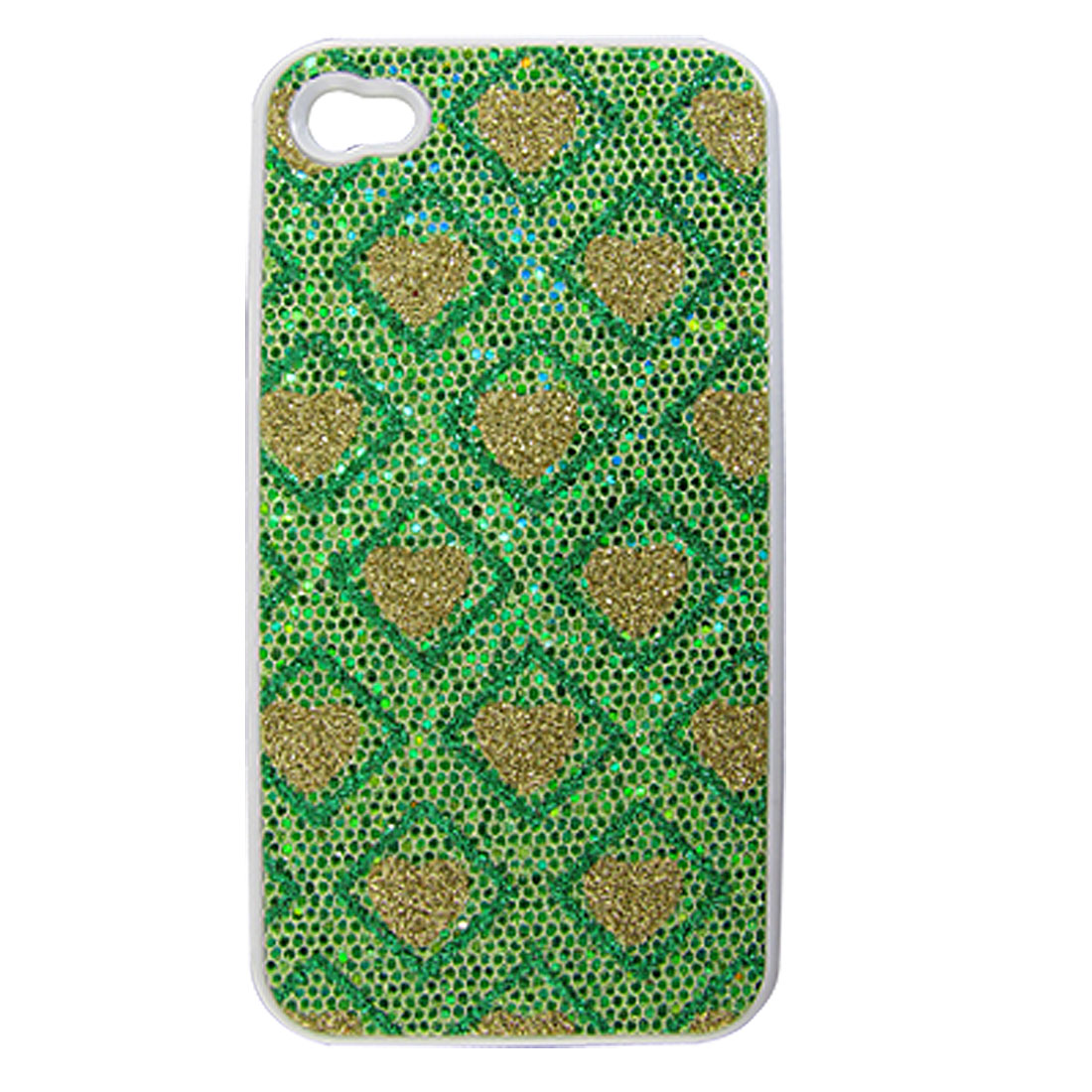 Green Gold Tone Shiny Heart Square Hard Plastic Back Case Cover for iPhone 4 4S 4G
