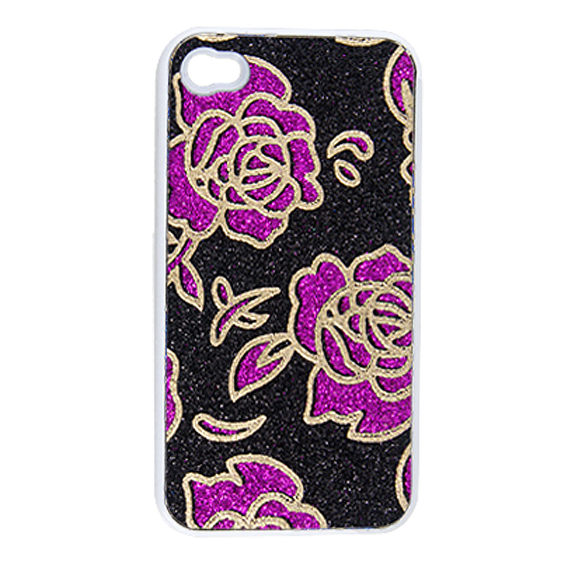 Black Fuchsia Flower Pattern Powder Plastic Back Case for iPhone 4 4G 4S