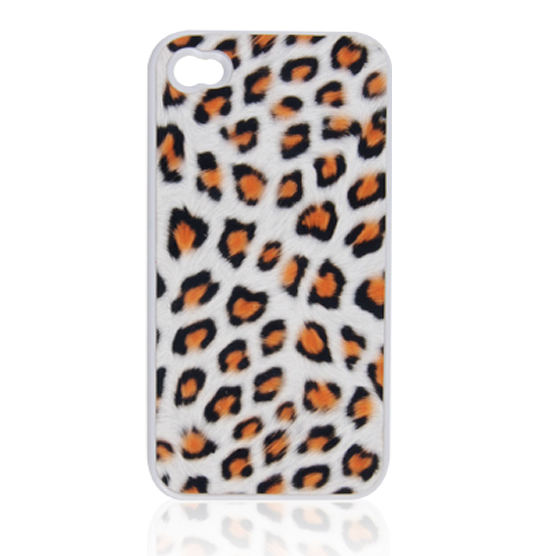 Leopard Print Faux Leather Coated Plastic Back Case for iPhone 4 4G 4S