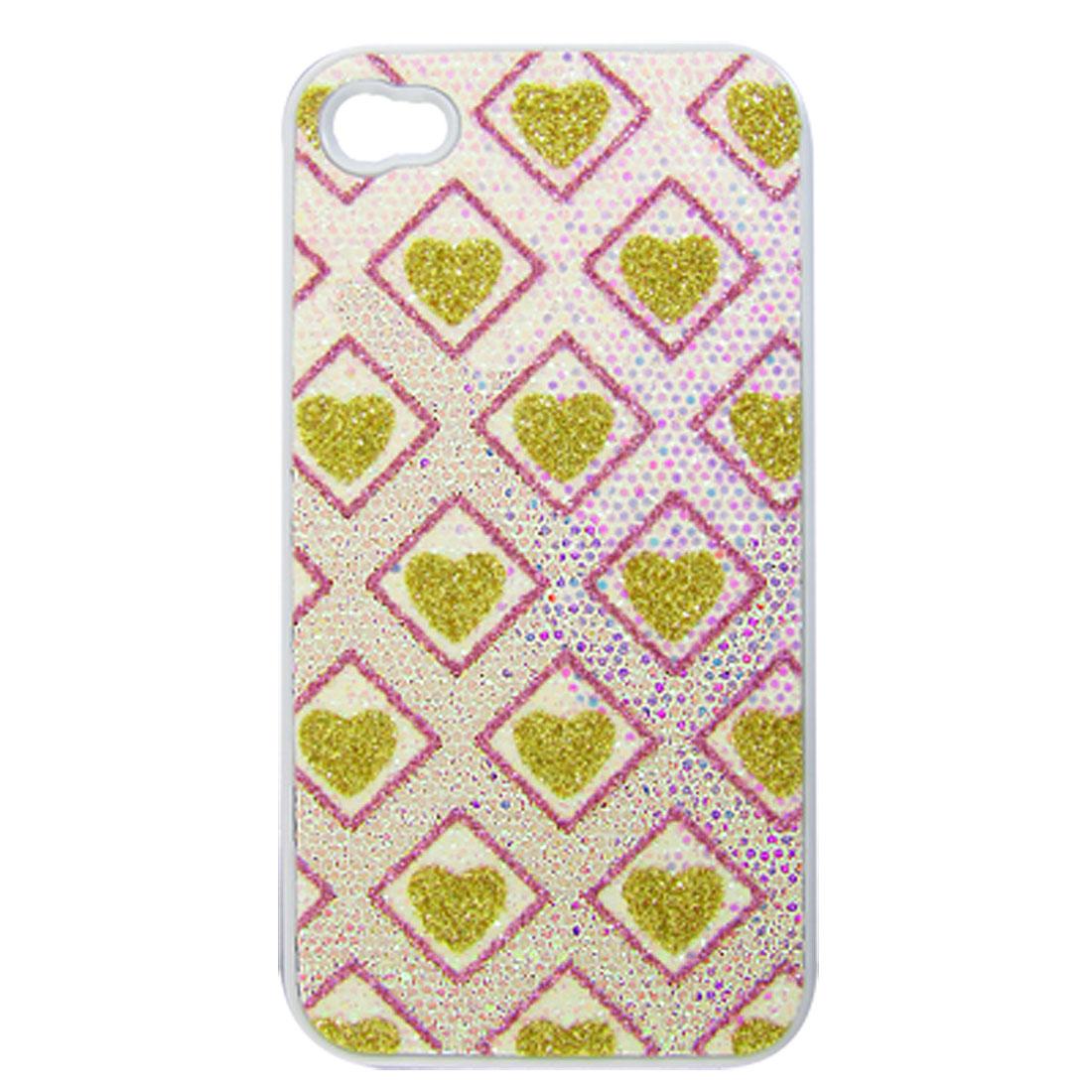Pink Gold Tone Glittery Square Hard Back Case Cover for iPhone 4 4S 4G 4GS