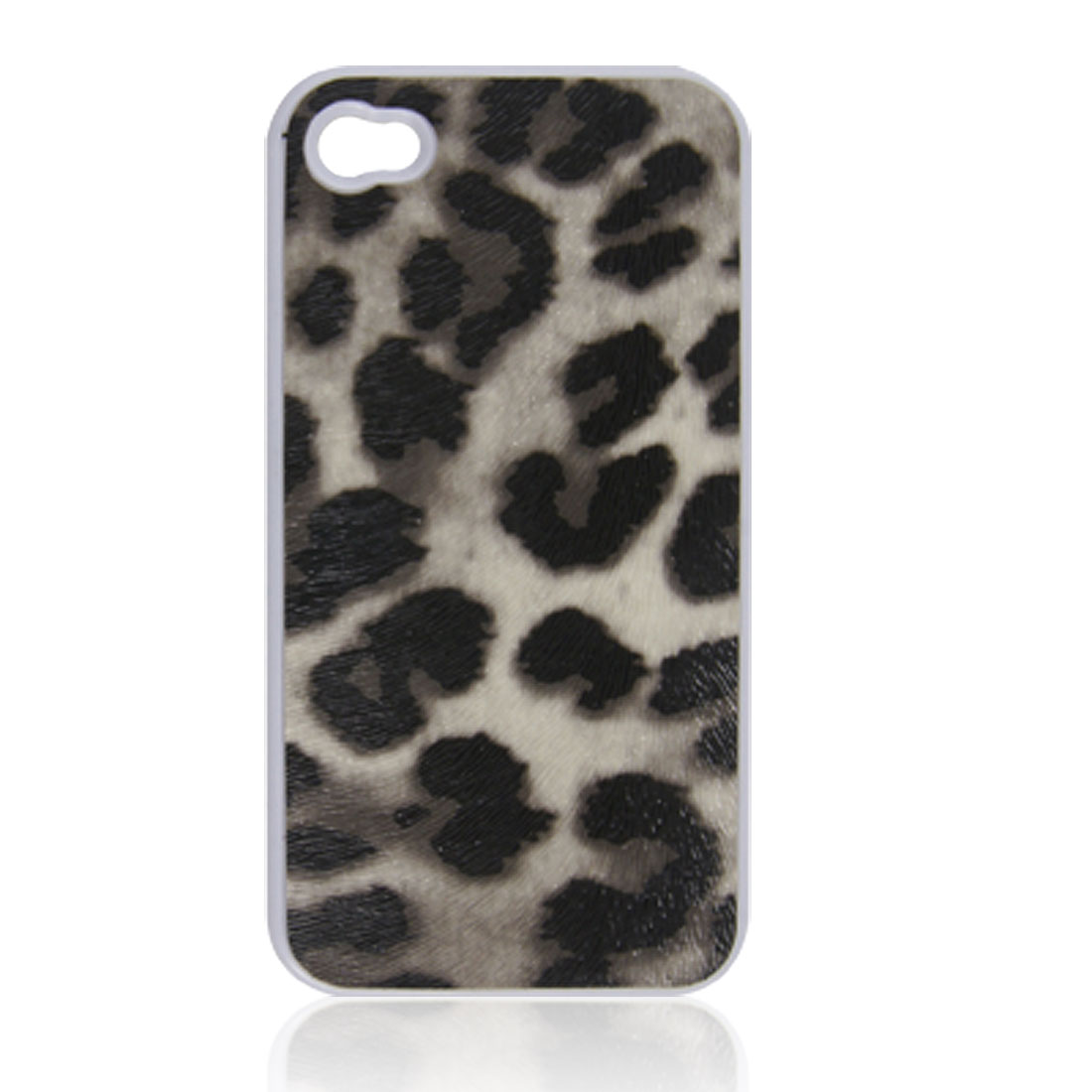 Leopard Print Faux Leather Coated Back Cover Black for iPhone 4 4G 4S
