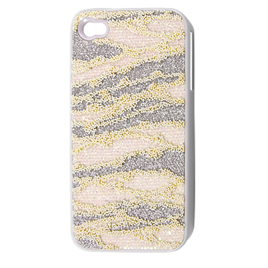 Silver Tone Powder Light Pink Sequins Hard Plastic Back Case for iPhone 4 4G 4S