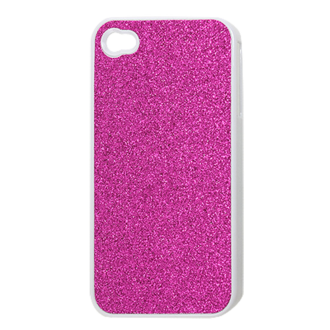 Fuchsia Powdered Faux Leather Coated Plastic Back Cover for iPhone 4 4G 4S