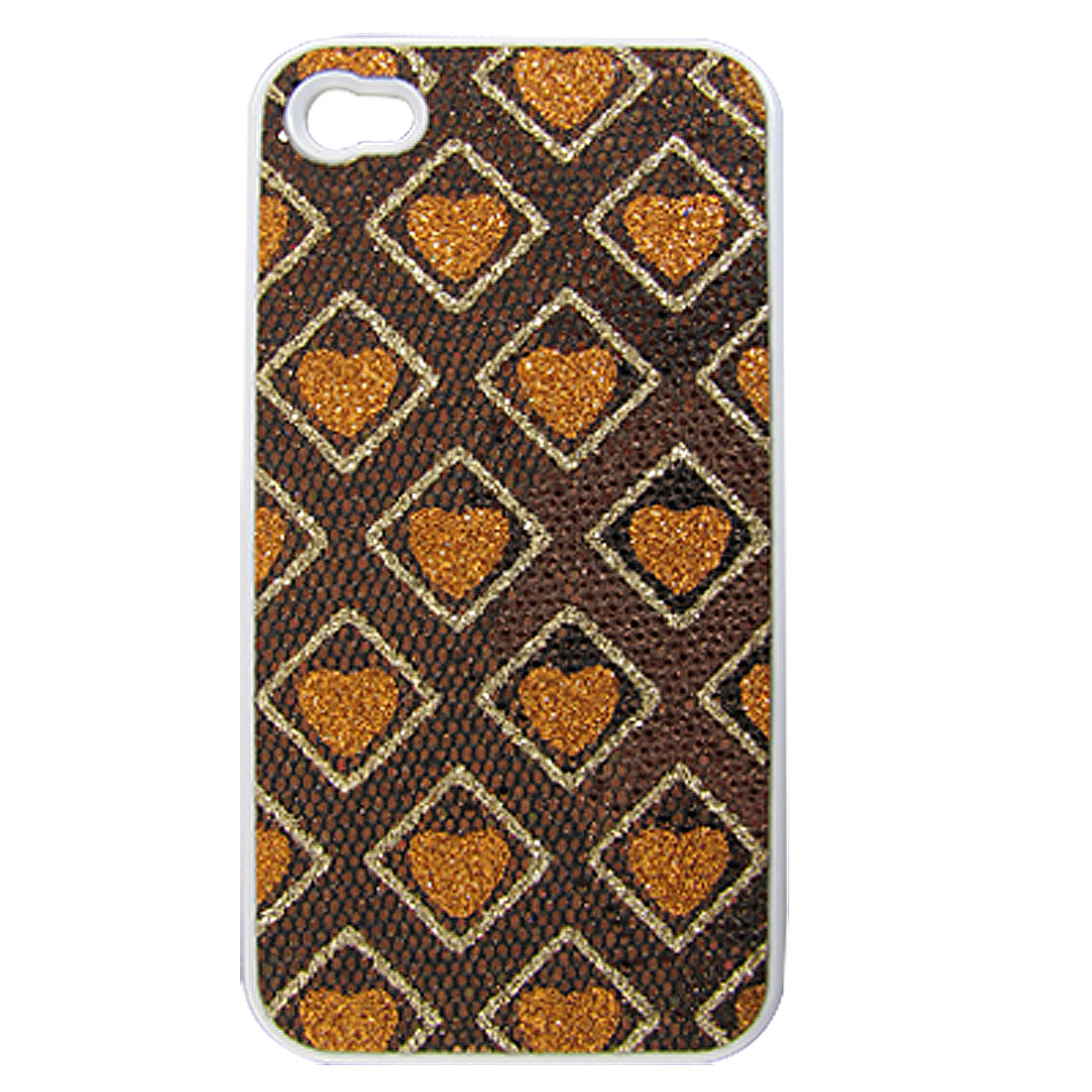Brown Orange Glittery Heart Square Hard Back Case Cover for iPhone 4 4S 4G 4GS