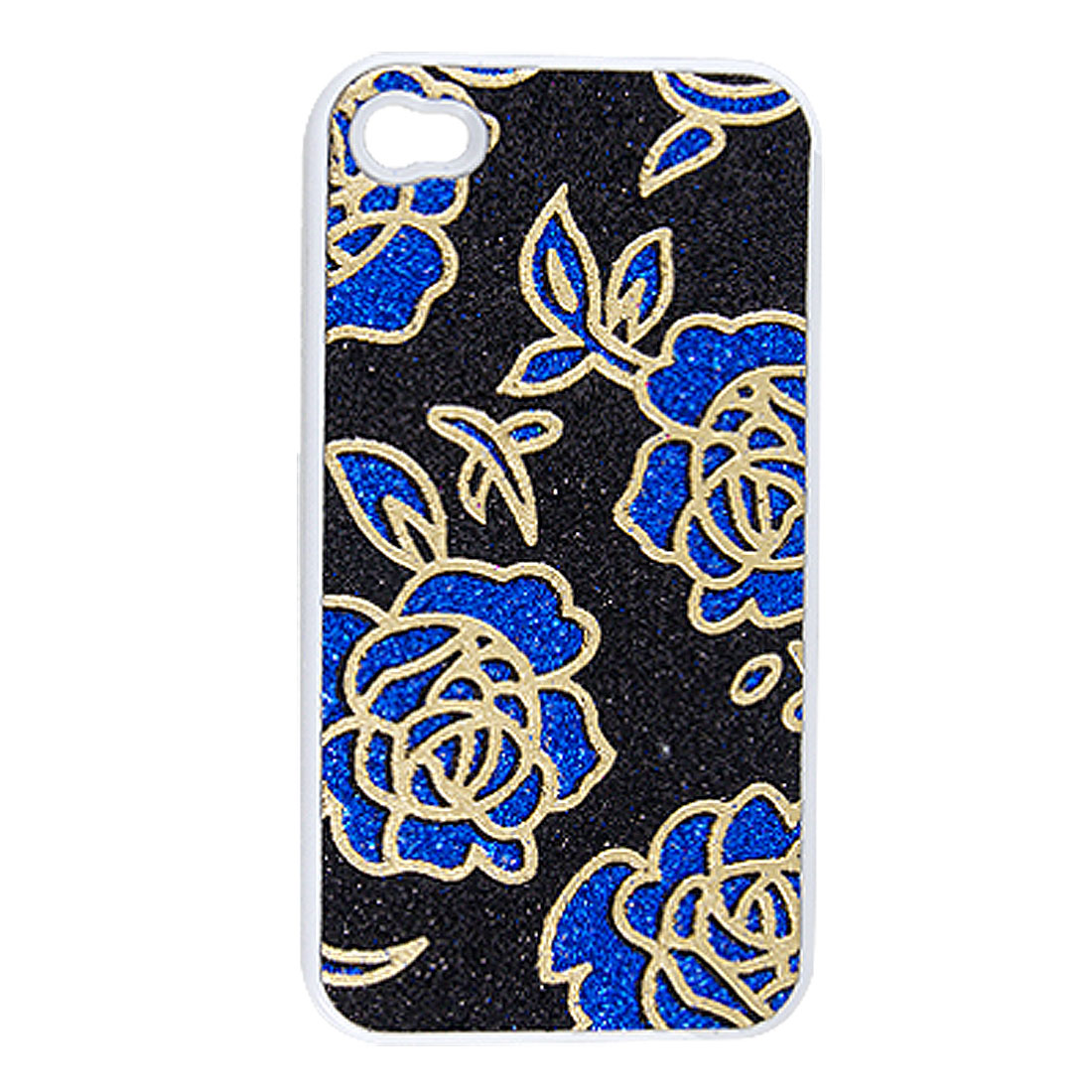 Blue Gold Tone Black Shining Powder Plastic Case for iPhone 4 4G 4S