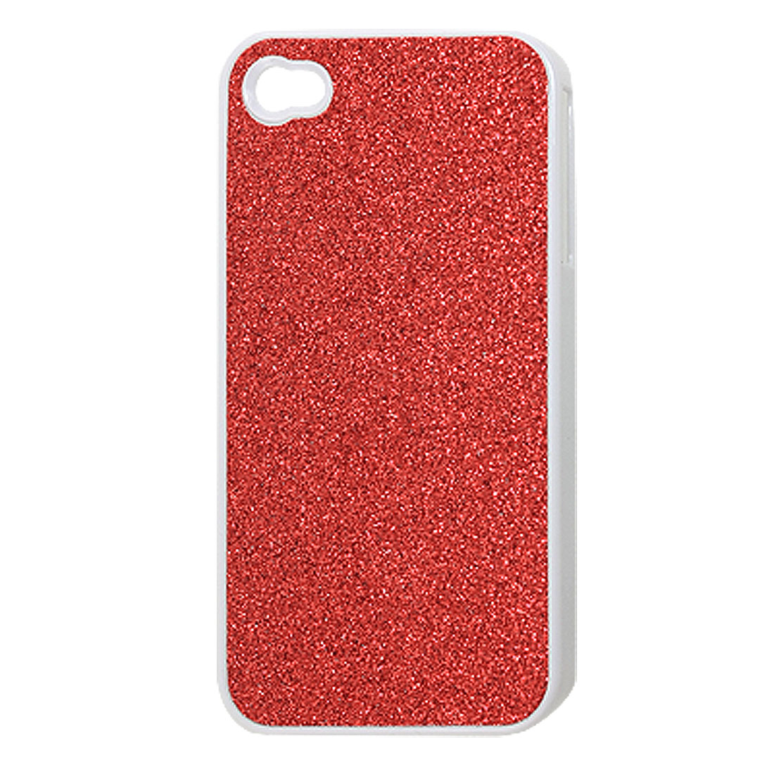 Plastic Red Glitter Powder Coated Back Case Cover for iPhone 4 4G 4S