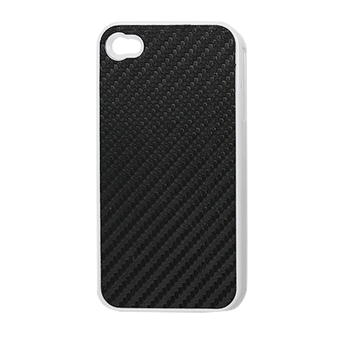 Black Woven Pattern Faux Leather Coated Plastic Back Case for iPhone 4 4G 4S